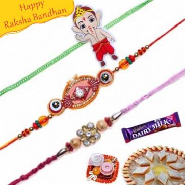 Buy Kundan Zardosi and Ganesha Kids Rakhis Trio Online on Rakshabandhan with India, worldwide delivery options