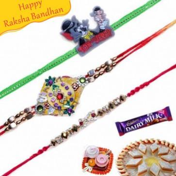 Buy Diamond and Tom & Jerry Kids Rakhis Trio Online on Rakshabandhan with India, worldwide delivery options