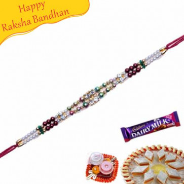 Buy Multicolour Pearls Jewelled Rakhi Online on Rakshabandhan with India, worldwide delivery options
