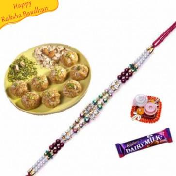 Buy magas Laddu with rakhi Online on Rakshabandhan with India, worldwide delivery options