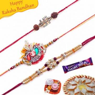 Buy Premium Diamond rakhis Trio Online on Rakshabandhan with India, worldwide delivery options