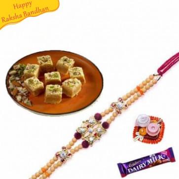 Buy kaju maisur with rakhi Online on Rakshabandhan with India, worldwide delivery options