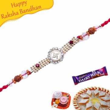 Buy Auspicious Diamond Pearl Rakhi Online on Rakshabandhan with India, worldwide delivery options