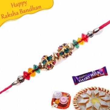 Buy Multicolour Diamond Ball Jewelled Rakhi Online on Rakshabandhan with India, worldwide delivery options