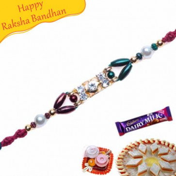 Buy Red Beads And Diamond Jewelled Rakhi Online on Rakshabandhan with India, worldwide delivery options