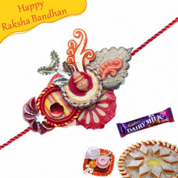Buy Kalash Design Zardoshi Work Rakhi Online on Rakshabandhan with India, worldwide delivery options