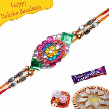 Buy CANVAS WORK KUNDAN RAKHI Online on Rakshabandhan with India, worldwide delivery options