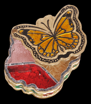 Butterfly Shaped Minakari Decorative Kankavati cum Mukhwas Box