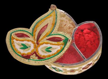 Diya / Dipak Shaped Minakari Decorative Dryfruit cum Kumukm Box