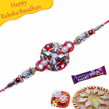 Buy AUSPICIOUS KUNDAN RAKHI Online on Rakshabandhan with India, worldwide delivery options