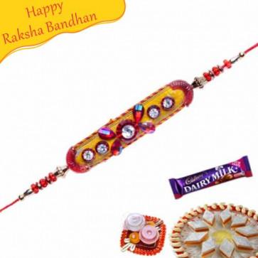 Buy Coloured Velvet Balls With Stones Mauli Rakhi Online on Rakshabandhan with India, worldwide delivery options