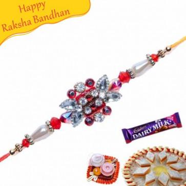 Buy RED, WHITE , GREEN DIAMOND RAKHI Online on Rakshabandhan with India, worldwide delivery options