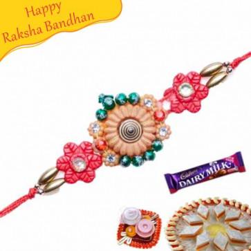 Buy Flower Design Diamond mauli Rakhi Online on Rakshabandhan with India, worldwide delivery options