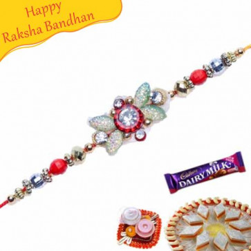 Buy American Diamond Heavy Crystal Bracelet Rakhi Online on Rakshabandhan with India, worldwide delivery options