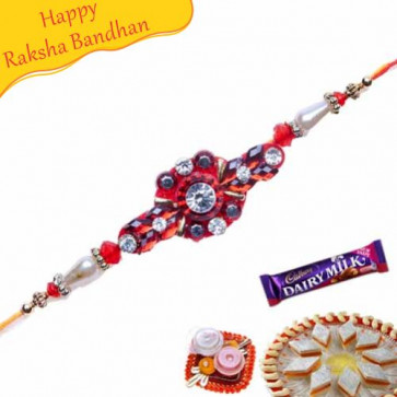 Buy Golden Red And Green Beads Mauli Rakhi Online on Rakshabandhan with India, worldwide delivery options