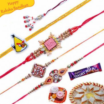 Buy Om, Velvet, Zardozi and Beads Five Pieces Rakhi Set Online on Rakshabandhan with India, worldwide delivery options