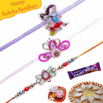 Buy Kids and Diamond Rakhis Trio Online on Rakshabandhan with India, worldwide delivery options