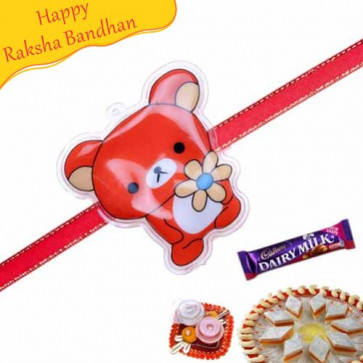 Buy Red Teddy Kids Rakhi Online on Rakshabandhan with India, worldwide delivery options