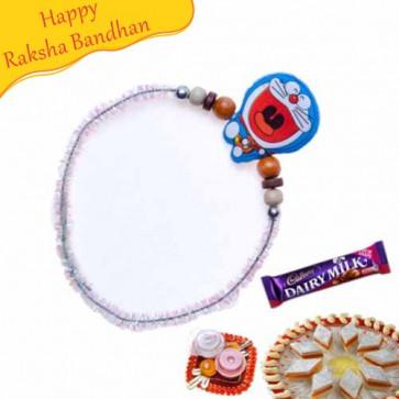 Buy Doraemon Wooden Beads Kids Rakhi Online on Rakshabandhan with India, worldwide delivery options