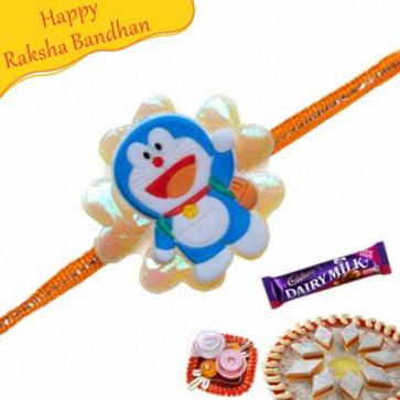 Buy Doraemon Flower Design Kids Rakhi Online on Rakshabandhan with India, worldwide delivery options