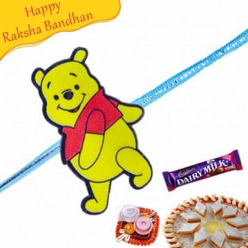 Buy Pooh Kids Rakhi Online on Rakshabandhan with India, worldwide delivery options