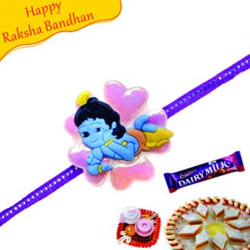 Buy Bal Krishna Flower Design Kids Rakhi Online on Rakshabandhan with India, worldwide delivery options