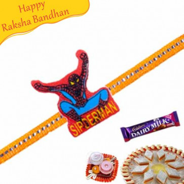 Buy Spiderman Orange Thread Kids Rakhi Online on Rakshabandhan with India, worldwide delivery options