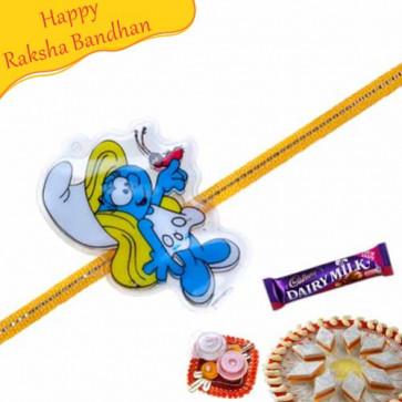 Buy Smurf Kids Rakhi Online on Rakshabandhan with India, worldwide delivery options
