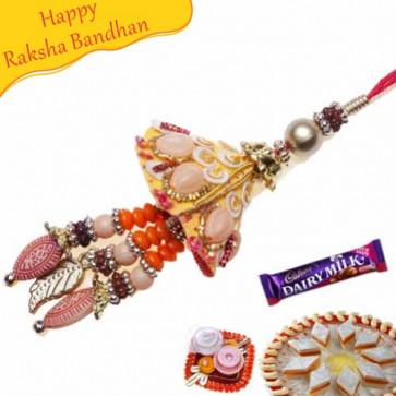 Buy Ethnic Zardosi Kundan Lumba Rakhi Online on Rakshabandhan with India, worldwide delivery options