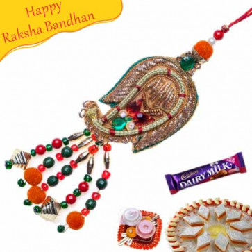 Buy Copper Paisley Kundan Style Lumba Rakhi Online on Rakshabandhan with India, worldwide delivery options