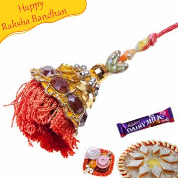 Buy zardoshi crystal lumba rakhi Online on Rakshabandhan with India, worldwide delivery options