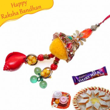 Buy red Crystal Velvet Lumba rakhi Online on Rakshabandhan with India, worldwide delivery options