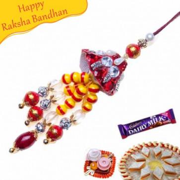 Buy White Pearl Colour full Beads Lumba Rakhi Online on Rakshabandhan with India, worldwide delivery options