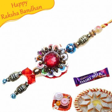 Buy Crystal And Diamond With Wooden Beads Fancy Rakhi Online on Rakshabandhan with India, worldwide delivery options