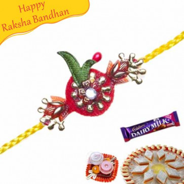 Buy Diamond Red Velvet Mauli Rakhi Online on Rakshabandhan with India, worldwide delivery options