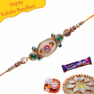 Buy Coconut Design And Golden Beads Mauli Rakhi Online on Rakshabandhan with India, worldwide delivery options