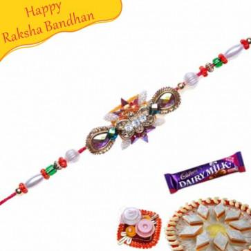 Buy Wooden Beads Pearl Crystal Bracelet Rakhi Online on Rakshabandhan with India, worldwide delivery options