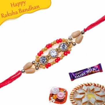 Buy Diamond Shaped With Wooden Beads Diamond Rakhi Online on Rakshabandhan with India, worldwide delivery options