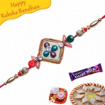 Buy WOODEN BEADS KUNDAN RAKHI Online on Rakshabandhan with India, worldwide delivery options