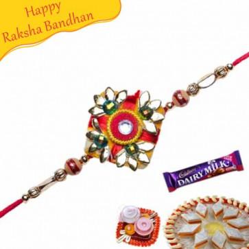 Buy Red And Golden Beads Mauli Rakhi Online on Rakshabandhan with India, worldwide delivery options