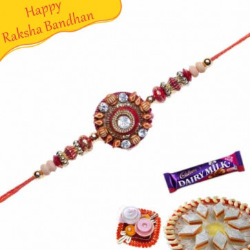 Buy Colourfull Beads With Diamond Rakhi Online on Rakshabandhan with India, worldwide delivery options