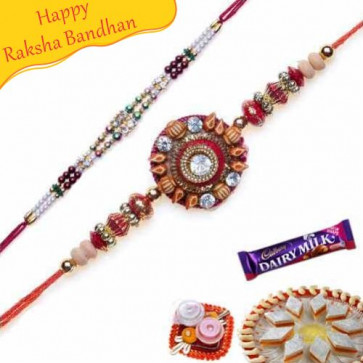 Buy A Pair Sandalwood Beads and Stones Rakhi Online on Rakshabandhan with India, worldwide delivery options