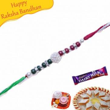 Buy Colourfull Pearls, American Diamond Rakhi Online on Rakshabandhan with India, worldwide delivery options