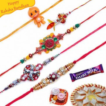 Buy Kundans, Velvet thread work, Om Five Pieces Rakhi Set Online on Rakshabandhan with India, worldwide delivery options