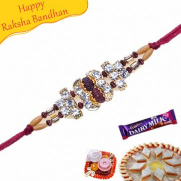 Buy Natural Rudraksh Rakhi with Golden foil work Online on Rakshabandhan with India, worldwide delivery options