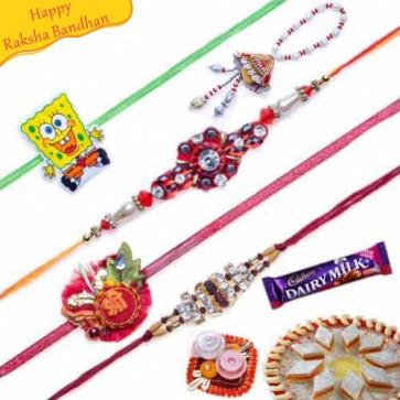 Buy Ethnic and Traditional Five Pieces Rakhi Set Online on Rakshabandhan with India, worldwide delivery options