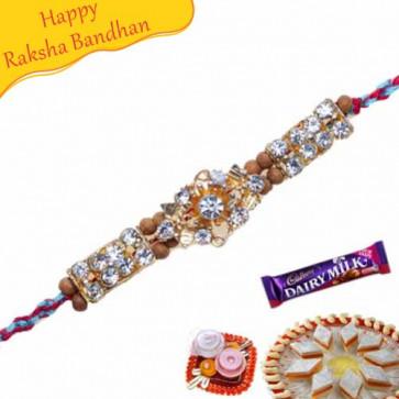 Buy Sandalwood with American Diamond Bracelet Rakhi Online on Rakshabandhan with India, worldwide delivery options