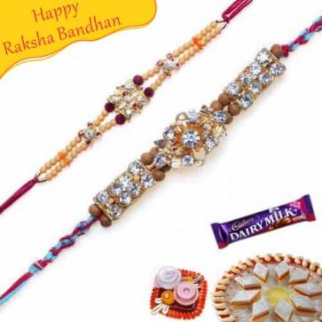 Buy Daimond Rakhi and Auspicious Sandalwood rakhi Online on Rakshabandhan with India, worldwide delivery options