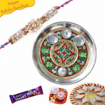 Buy Rakhi Thali With Dimond Rakhi Online on Rakshabandhan with India, worldwide delivery options