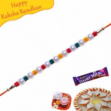 Buy Wooden Beads And Colourfull Beads Pearl Rakhi Online on Rakshabandhan with India, worldwide delivery options